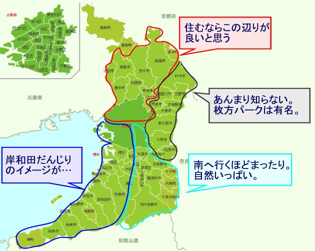 大阪の地域を比較